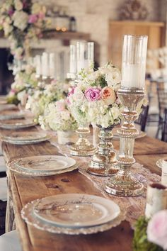 Shabby chic rustic wedding decor for the spring. Love love the mercury glass candle holders, perfect for Mirage LED candles. Wedding Centerpieces, Wedding Decorations, Table Decorations, Table Centerpieces, Wedding Tables, Centerpiece Ideas, Chandelier Centerpiece, Candle Arrangements, Vintage Centerpieces