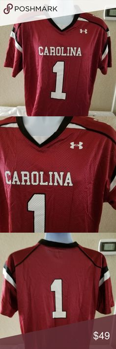 """Under Armour men's NCAA South Carolina Gamecocks For your consideration:   Under Armour men's NCAA South Carolina Gamecocks # 1 Football Jersey   Size XL  Measurement approximately:  underarm to underarm 22.5""""  Sleeve inseam ( from armpit to cuff) 4.5""""  Length 27"""" Under Armour Shirts"""