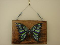 Lime green and purple butterfly plaque wood plaque by ArtbyIrish, $7.50