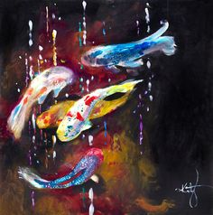 Katy Jade Dobson 'Tranquility III' Oil Painting - The Spectrum Collection Wildlife Paintings, Wildlife Art, Oil Paintings, Tropical Art, Fish Art, Cool Artwork, Art Inspo, Art Drawings, Abstract