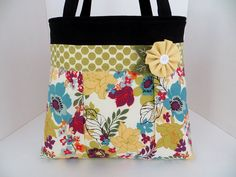 Yellow Floral Pleated A-Line Bag - Floral Fabric Handbag - Diaper Bag - Pleated Fabric Tote Bag - Winter Purse on Etsy, $65.00