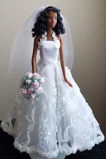 Barbie Wedding Dress, Barbie Gowns, Barbie Clothes, Barbie Stuff, Bridal Gowns, Wedding Gowns, Bride Dolls, October Wedding, Custom Dresses