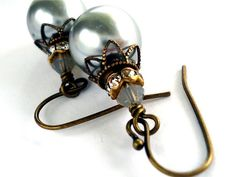 Touch of Class  silver glass pearl brass by floretteboutique, $18.00