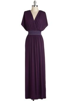 Rebecca to Basics Dress - Long, Purple, Solid, Casual, Maxi, Short Sleeves, V Neck, Embroidery, Beach/Resort, Top Rated