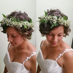 Top your chin-length waves with a stunning flower crown.