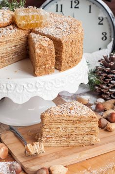 Medovik - honey cake with sour cream filling. 12 layers.