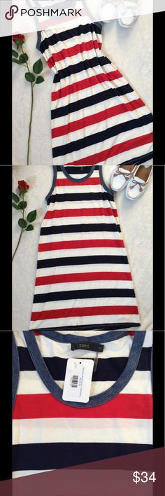 🇺🇸THML Racerback Striped T-Shirt Dress 🌹THML NWT $44.99 Racerback Striped T-shirt dress Sleeveless Red White And Blue 48% Modal 47% Cotton 5% Spandex 35in Shoulder top to hem 16in Armpit to Armpit unstretched  21in Armpit to Armpit stretched  18in middle of dress flat lay 22in Bottom of dress flat lay THML Dresses