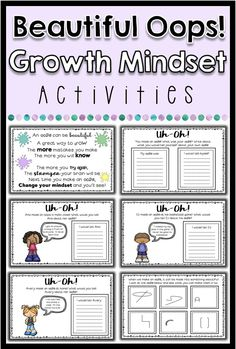 """This resources includes 2 activities to help students with having a growth mindset! These activities are based off of the book """"Beautiful Oops!"""" by Barney Saltzberg, however you do not need the book to use the activities. Activities include: a 6 page book What Is Growth Mindset, Growth Mindset Classroom, Growth Mindset Activities, Fixed Mindset, Elementary School Counselor, School Counseling, Beautiful Oops, Counseling Activities, Social Emotional Learning"""