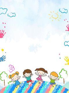 Kids Background, Cartoon Background, Welcome Background, Kids Art Class, Art For Kids, Art Children, School Border, Kindergarten Portfolio, Seasons Posters