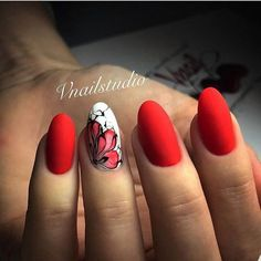 35 Gel Nägel Sommer Nageldesign, 35 Gel Nä Red Nail Art, Red Nails, Hair And Nails, Pastel Nails, Acrylic Nails, Classy Nails, Cute Nails, Nails 2017, Oval Nails