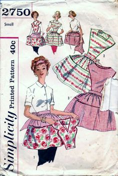 Vintage 50s 60s Simplicity 2750 Full Bib Or Half Hostess APRON Sewing Pattern Small