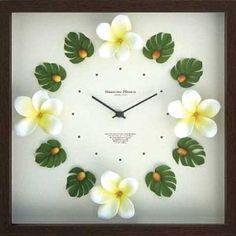 """Hawaiian clock Plumeria Yellow """"Clock"""" (Hawaiian plumeria yellow clock)"""