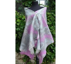 Large Shawl Wrap Pink Mauve and Gray CapeWoman Wrap by RumiWay