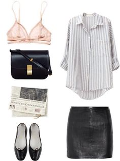 The more I see wearable outfits with leather mini skirts, the more I become convinced it might be a staple :: striped blue-and-white buttondown + black mini skirt + black flats