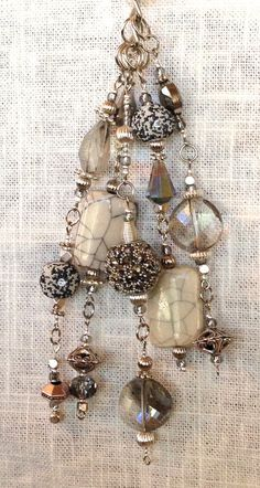 ** Brown & Bronze Interchangeable Beaded Clip On Pendant Dangle  Charm @NikkaiDesigns