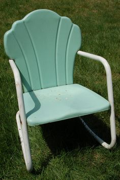 Mid Century Child's Seafoam Green and White Metal Lawn Rocking Chair