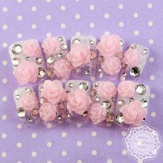 Crystal pink 3d flowers on silver tips. Japanese nail art design.