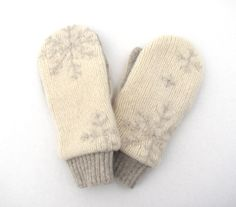 Wool Mittens from Recycled Sweaters Fleece Lined Cream and Pale Taupe Snowflakes. $30.00, via Etsy.