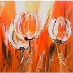 Schilderij oranje tulpen. Moderne bloemen, oranje