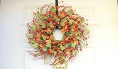Orange Fall Wreath Fall Berry Wreath Autumn by laurelsbylaurie