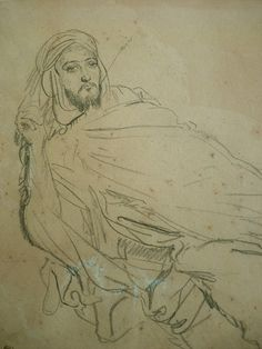 CHASSERIAU Théodore,1846 - Arabe allongé - drawing - Détail 13