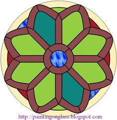painting on glass: Free Stained Glass Pattern:Church Rose