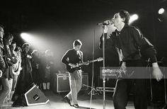 ROTTERDAM Photo of Joy Division performing live in Rotterdam, Bernard Sumner (left) & Ian Curtis
