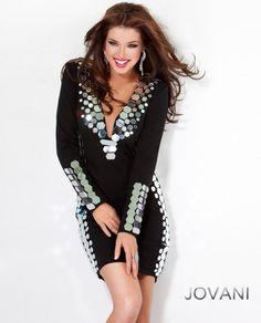 #Jovani style 9809  #JovaniFashions, #LittleBlackDress #LBD #mirror #embellished #dress