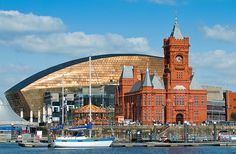 Visit Cardiff, Capital of Wales - one of the historic buildings down Cardiff Bay (with the new Millennium Centre in the background)