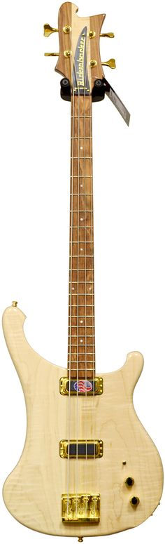 Rickenbacker 4004 Four string Bass Guitar. RESEARCH DdO:) - http://www.pinterest.com/DianaDeeOsborne/instruments-for-joy/ - INSTRUMENTS FOR JOY. Model has new low loss circuit w latest technology high output humbucker pickups, distinctive loud, clear sound. Sculpted body shape & extra body contour of 4004L Loredo in all standard colors with contrasting chrome plated parts. 4004C Cheyenne ii has transparent midnight blue finish, solid quilted maple top w solid walnut back. Pin via Drum Junkie.