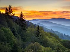 Tennessee, the sixteenth state to join the Union, is a land of legends, both cultural and natural. Pictured here is the most visited national park in the country, Great Smoky Mountains National Park, located in the eastern portion of the state.