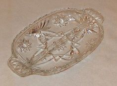 Vintage Anchor Hocking Clear Pressed Glass - Star of David Pattern - Relish Tray