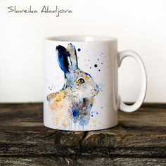 Hare Rabbit Mug Watercolor Ceramic Mug Unique Gift Coffee Mug Animal... ($16) ❤ liked on Polyvore featuring home, kitchen & dining, drinkware, drink & barware, grey, home & living, watercolor mugs, ceramic tea cups, animal mugs and rabbit mug