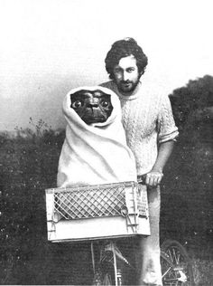vintage photo of steven spielberg with ET