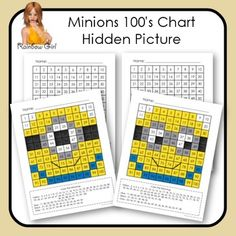 Two Minions 100's charts for students to color and reveal the picture hidden.