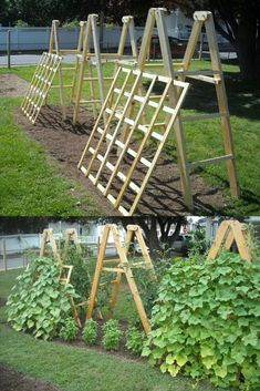15 easy attractive DIY cucumber trellis ideas on how to build vertical garden growing structures with simple materials for productive vegetable gardening! - A Piece of Rainbow backyard, landscaping, gardening tips, homesteading grow your own food Trellis Design, Trellis Ideas, Herb Garden Design, Vegetable Garden Design, Vegetable Gardening, Bamboo Trellis, Garden Trellis, Allotment Gardening, Container Gardening