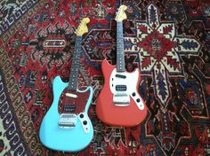 Blue and Red Fender Cobain Mustang guitars