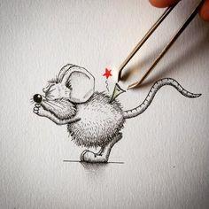 As divertidas ilustrações de ratinhos que se mesclam à realidade de @apredart