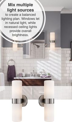 Mix multiple light sources to create a balanced lighting plan. Windows let in natural light, while recessed ceiling lights provide overall brightness. Check out our entire selection of bathroom lighting and decor at GreyDock! #HomeBeginsHere