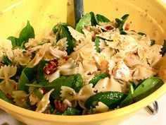 chicken,pasta, and spinach salad with homemade dressing