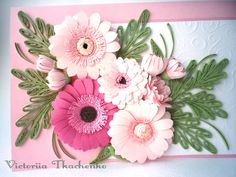 Quilling greeting card with gerberas flowers