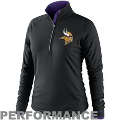 Nike Minnesota Vikings Ladies Conversion Half Zip Performance Jacket - Black