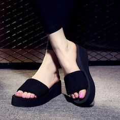 Cheap bath slippers, Buy Quality brand slippers directly from China slippers brand Suppliers: 2017 Summer Woman Shoes Platform bath slippers Wedge Beach Flip Flops High Heel Slippers For Women Brand Black Eva Ladies Shoes