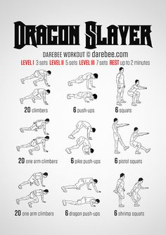 Dragon Slayer Workout For More Health And Fitness Tips Visit Our Website Hero Workouts, At Home Workouts, Superhero Workout, Neila Rey, Darebee, Martial Arts Workout, Dragon Slayer, Excercise, Body Weight