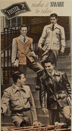 1940s L.W. FOSTER sportswear men's fashion photo advertisement college menswear by Christian Montone