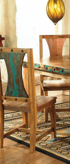 Barnwood Table & Chairs: Distressed turquoise accents and antiqued nailheads highlight the natural beauty of reclaimed barnwood in the solid wood Azul Barnwood Table & Chairs. Handmade in the USA. Five piece set includes table and four chairs. Western Furniture, Reclaimed Wood Furniture, Reclaimed Barn Wood, Rustic Furniture, Painted Furniture, Furniture Design, Southwestern Dining Tables, Dining Table Chairs, Dining Room Furniture