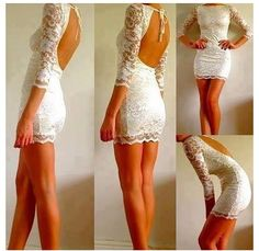 Simple wedding dress for a small beach wedding or rehearsal dinner. Need this! It's lacy... ;)