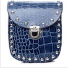 Blue cross body bag Croc embossed cross body bag with silver rivets and silver detachable chainNew in package Bags Crossbody Bags