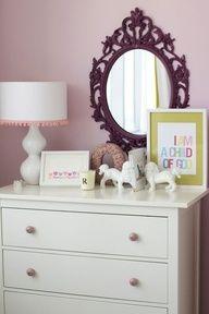 nurseries - Ikea Hemnes 3 Drawer Chest Ikea Ung Drill Mirror Ikea ornate purple mirror pink lilac walls white gourd lamp white lamp shade pink tassel trim white foo dogs