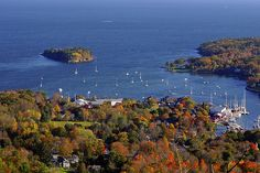 Camden Harbor, Maine, from Mount Battie. I love this view -- we climbed Mt. Battie for our anniversary one year.